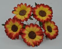 4.5 cm RED YELLOW CHRYSANTHEMUM DAISY Mulberry Paper Flowers miniature card wedding